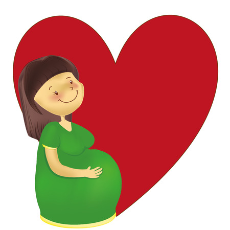 a happy pregnant woman with a heart in the background Vector