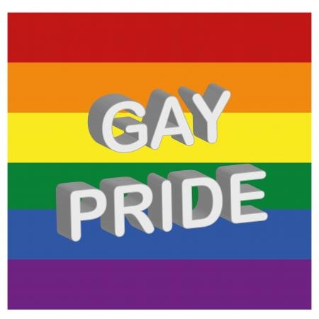 regenbogen: de LGBT vlag met enkele witte tekst in 3D Stock Illustratie
