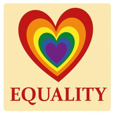 duży kolorowy LGBT serce z jakimś czerwonym tekstem