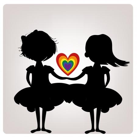 homosexuales: un par de siluetas negras de lesbianas con un corazón