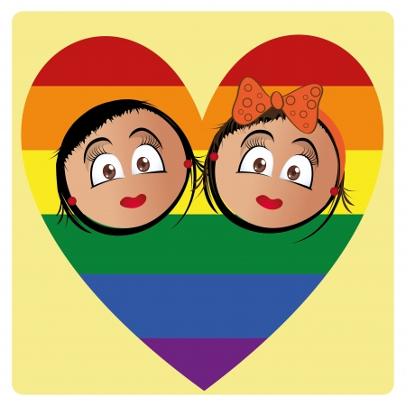 a pair of women inside a colored lgbt heart