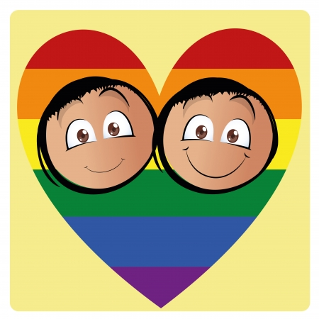 a pair of men inside a colored lgbt heart Vector