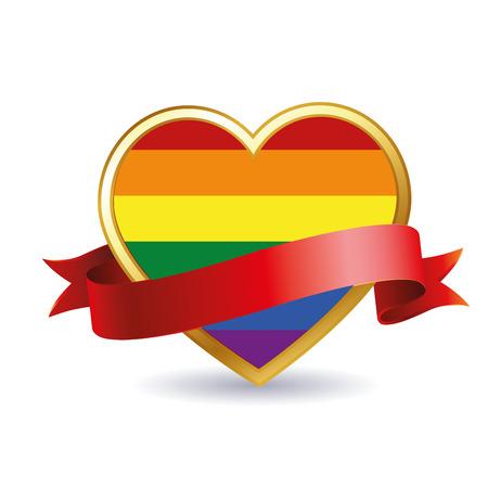 regenbogen: een gekleurde LGBT hart met een rood lint