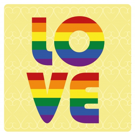 some colored lgbt text in a yellow background Vector