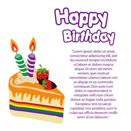 a colored lgbt happy birthday with purple text Vector