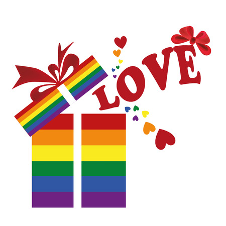 a colored lgbt present with some text and hearts Vector