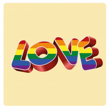 a colored lgbt text in a yellow background Vector
