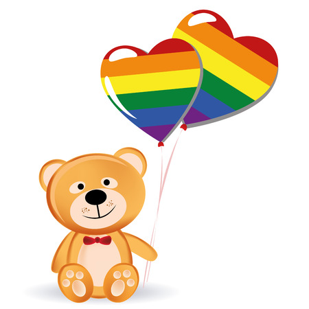 a happy teddy bear with a pair of lgbt ballons