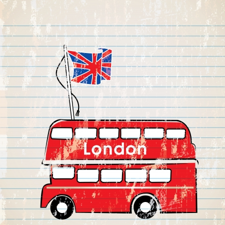 bandera inglesa: un autobús rojo de Londres con la bandera del reino unido