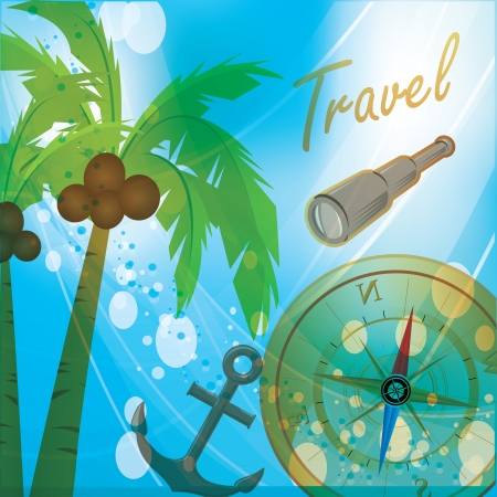 a beautiful sky in summer with an anchor, zoom, trees and a compass Vector