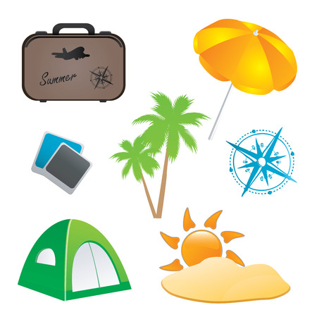 a lot of colored icons for summer traveling  Vector