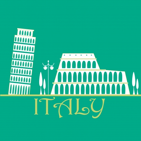 old buildings: white silhouettes of the old buildings in italy Illustration