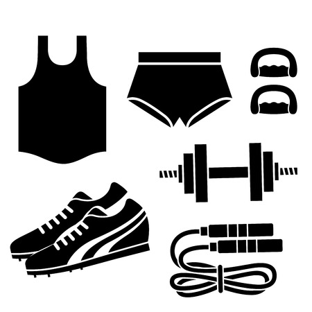 black silhouettes of some fitness related elements Vector