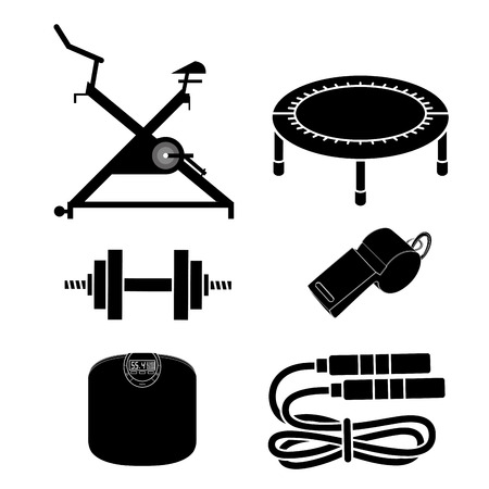 six black silhouettes related to fitness in white background Vector