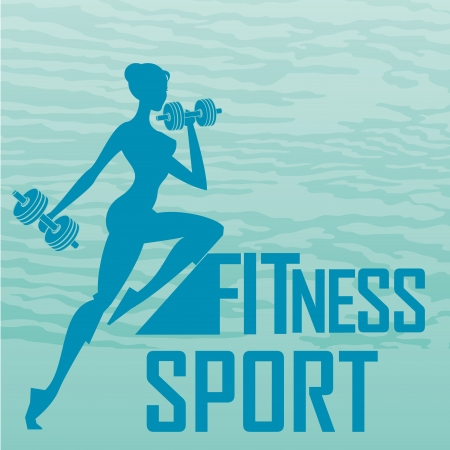 a blue silhouette of a woman lifting some weights Vector