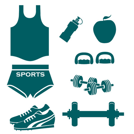a lot of blue silhouettes related to fitness Vector