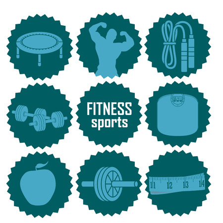 nine blue icons with blue silhouettes related to fitness Illustration