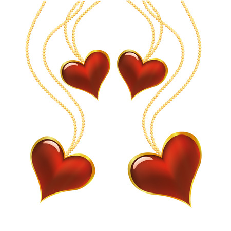 a lot of heart necklace in white background  Vector