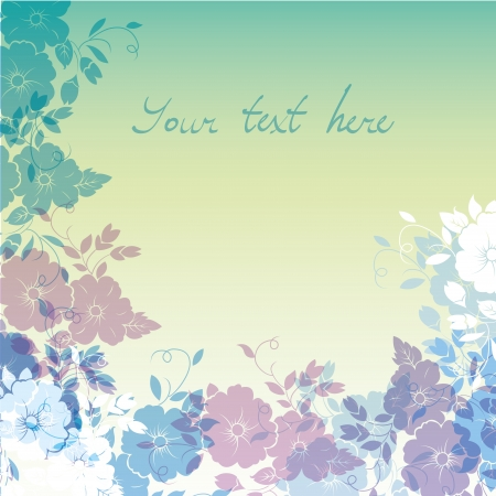 a lot of colored flowers in a gradient background Vector