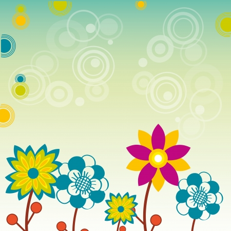 colored flowers and some white circles in gradient background Vector