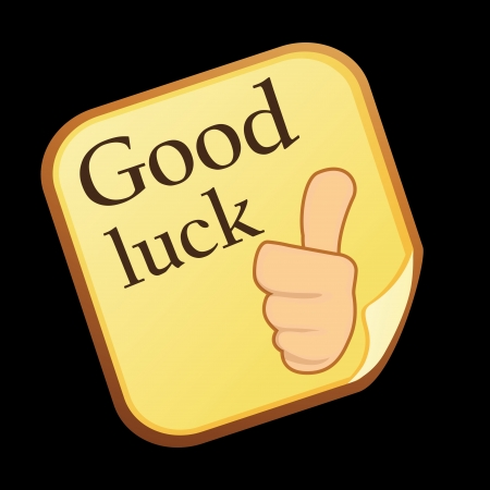 a good luck message with a hand in black background