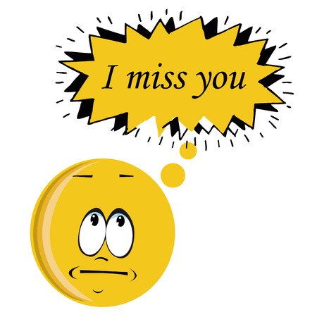 i miss you: an I miss you message in a bubble Illustration