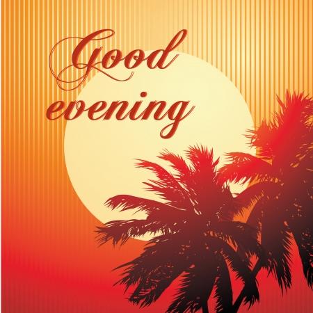 """bonsoir: une """"bonne soir�e"""" message dans un fond de plage Illustration"""