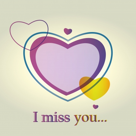 i miss you: an I miss you message with hearts in white background Illustration