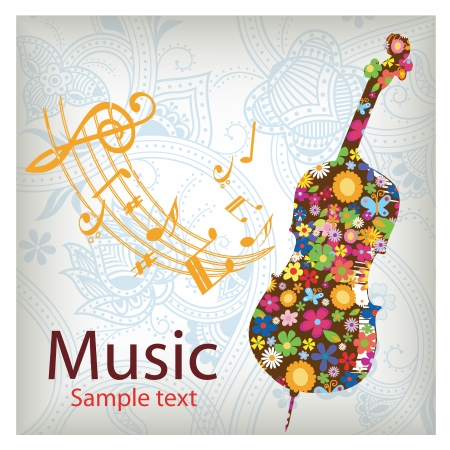 a violin silhouette with natural elements inside Vector