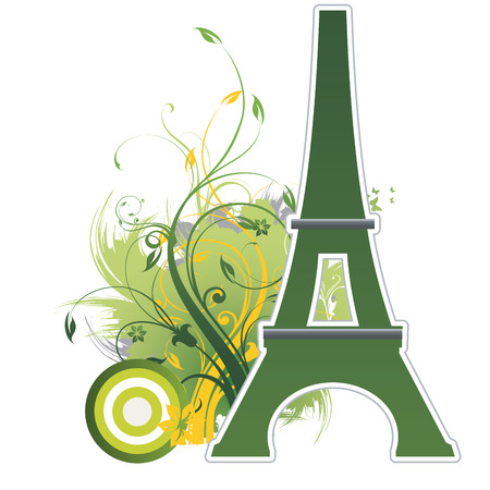 a green silhouette of the eiffel tower in white background Иллюстрация