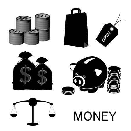 a lot of black silhouettes of money related elements Vector
