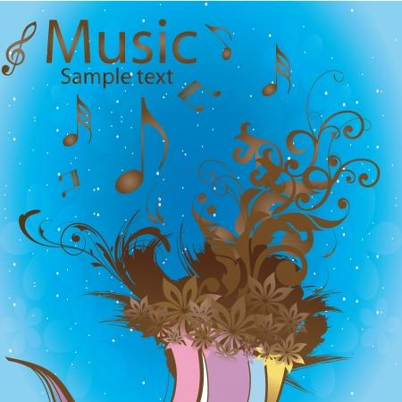 pentagramma musicale: un sacco di note musicali e fiori in uno sfondo blu Vettoriali