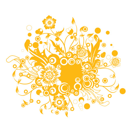 ensemble: a yellow natural pattern in white background Illustration