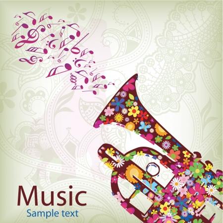 pentagramma musicale: una silhouette marrone di una tromba con gli elementi naturali all'interno Vettoriali