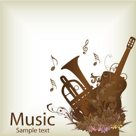 pentagramma musicale: un paio di strumenti marrone in sfondo bianco