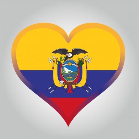 ecuador: de vlag van Ecuador met haar respectievelijke kleuren Stock Illustratie