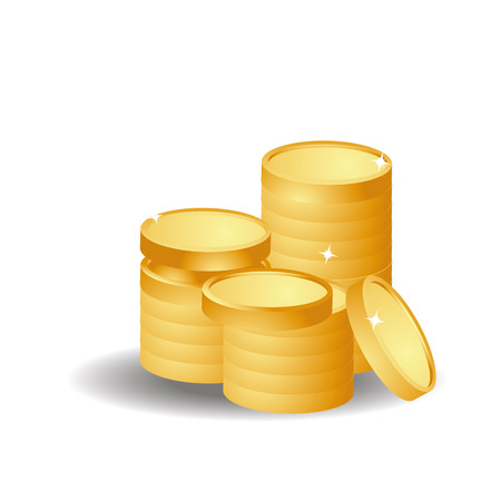 three pile of golden coins in white background