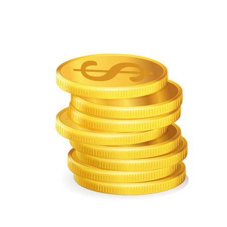 a pile of golden coins in a white background
