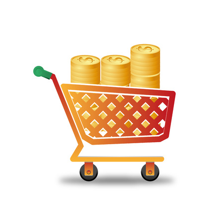 an orange shopping cart with piles of coins Vector
