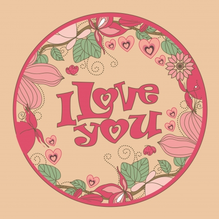 a round colored icon with some text and flowers Vector