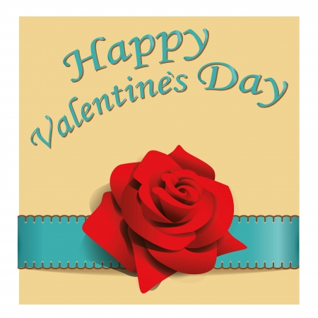 a red rose with some blue text for valentine day Vector