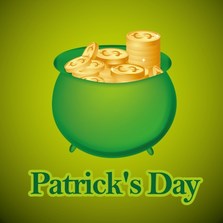 a lot of golden coins in a gradient background for st patrick day Vector