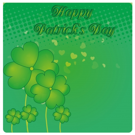 some clovers within a green background with hearts Vector