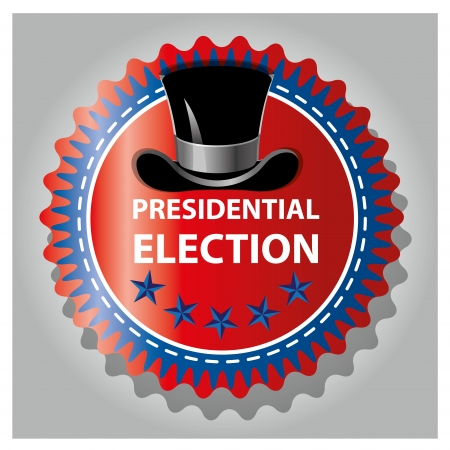 presidential election: a black hat in a colored icon for presidential election
