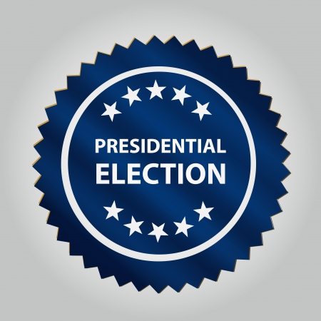 a blue round icon with some white text and star for president day