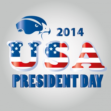 a textured text with a blue silhouette of an eagle for president day Vector