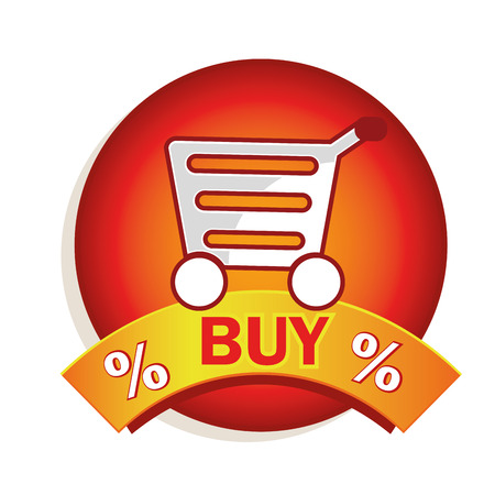 a red icon with a white silhouette of a cart with some text Vector