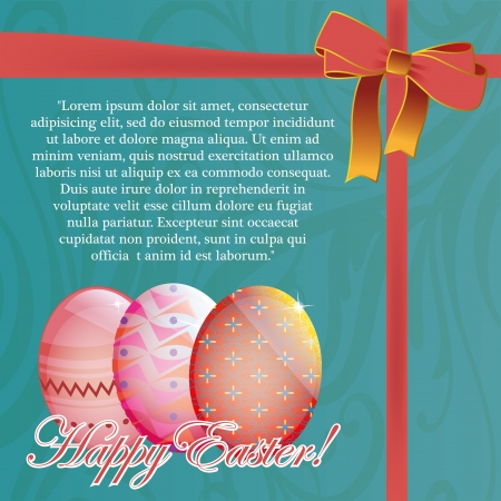 a blue card with some easter eggs for celebration Vector