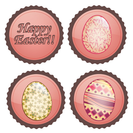 four colored round icons with some eggs and text Vector