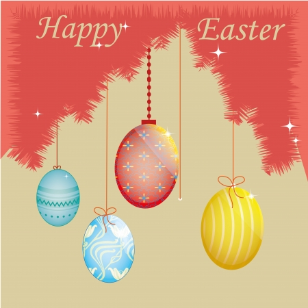 four easter eggs with different textures and text Vector